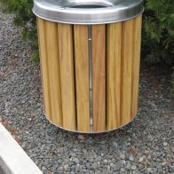 Citistyle Round Bin - Timber style from Urban Effects